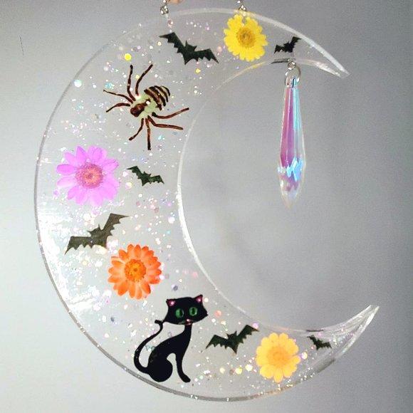 Large Halloween Moon/Spider/Bats/Cat/Flowers